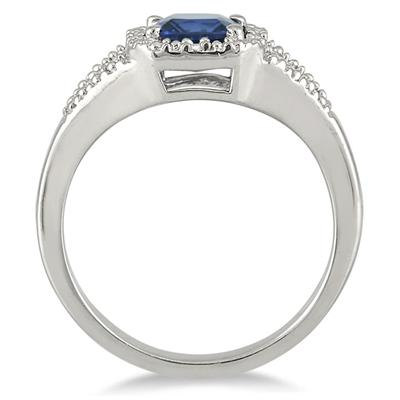 6mm Cushion Cut Lab Created Sapphire and Genuine Diamond Ring in .925 Sterling Silver