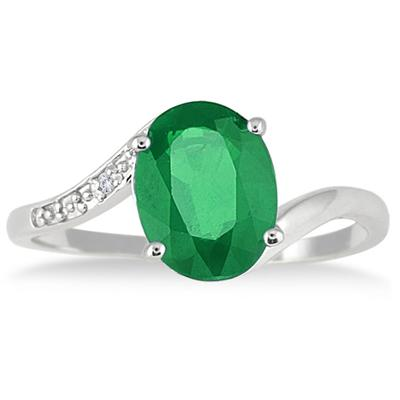 9x7mm Lab Emerald and Genuine Diamond Ring in .925 Sterling Silver