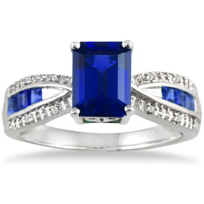 8x6MM Created  Sapphire and Diamond ring in .925 Sterling Silver
