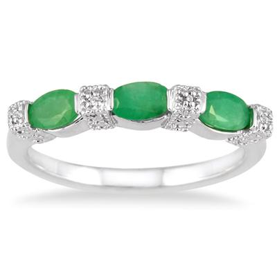 Emerald and Diamond Three Stone Band in .925 Sterling Silver