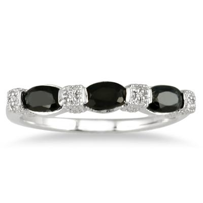 Sapphire and Diamond Three Stone Band in .925 Sterling Silver