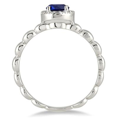 1/2 Carat Natural Round Sapphire and Diamond Ring in .925 Sterling Silver