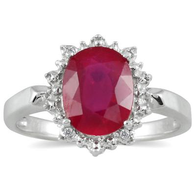 3.00 Carat Natural Ruby and Diamond Royal Ring in .925 Sterling Silver