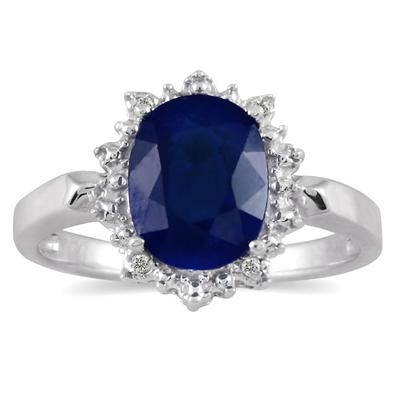 2.50 Carat Sapphire and Diamond Royal Princess Di Ring in .925 Sterling Silver