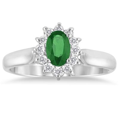 6x4MM Emerald and Diamond Flower Ring in 10K White Gold