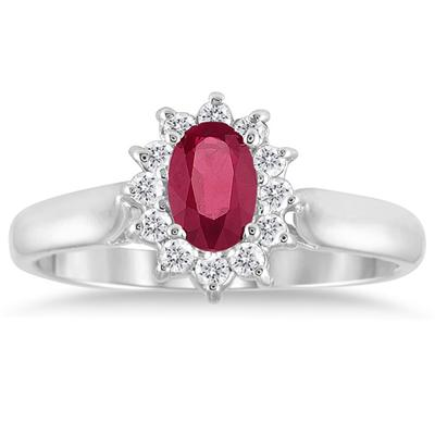6x4MM Ruby and Diamond Flower Ring in 10K White Gold