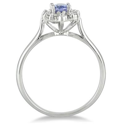 6x4MM Tanzanite and Diamond Flower Ring in 10K White Gold