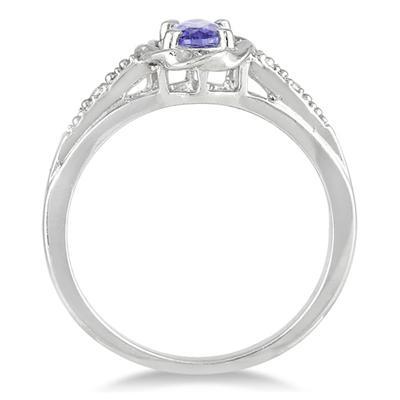 Tanzanite and Diamond Ring in 10K White Gold