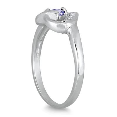 1/3 Carat Tanzanite and Diamond Heart Ring in 14K White Gold