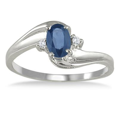 Sapphire Gemstone and Diamond Wave Ring 14k White Gold