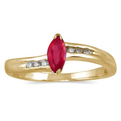 Marquise Ruby and Diamond Slender Wave Ring
