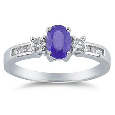 Tanzanite and Diamond Regal Channel Ring