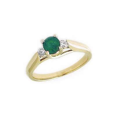 Three Stone Emerald and Diamond Ring