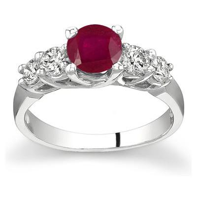 5 Stone Ruby and Diamond Ring
