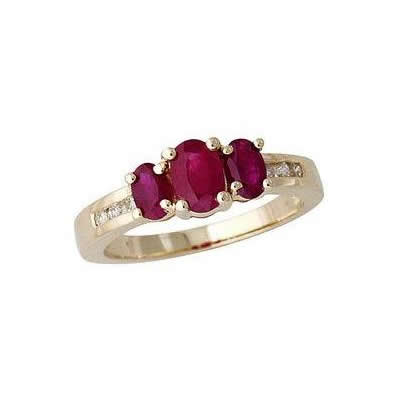 Ruby and 6 Diamond Channel Stone Ring