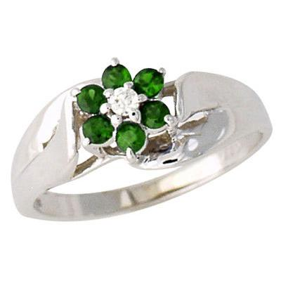 Emerald and Diamond Flower Petal Ring