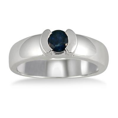 Half Bezel Sapphire Ring in 14k White Gold