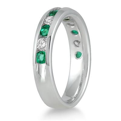 3/4 Carat Emerald and Diamond Band in 14k White Gold
