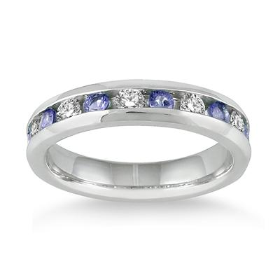 3/4 Carat Tanzanite and Diamond Band in 14k White Gold