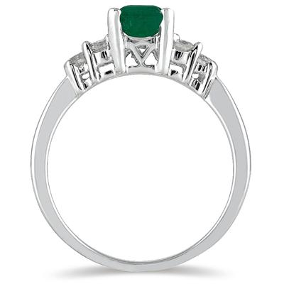 1.00 Carat Emerald and Diamond Ring 14K White Gold