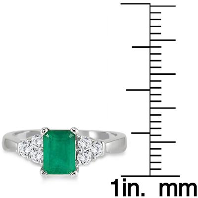 Emerald and Diamond Ring 14K White Gold