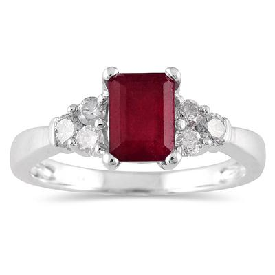 1.00 Carat Ruby and Diamond Ring 14K White Gold