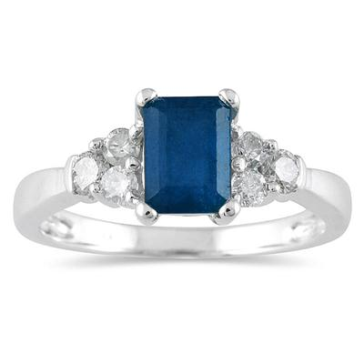 1.00 Carat Sapphire and Diamond Ring 14K White Gold