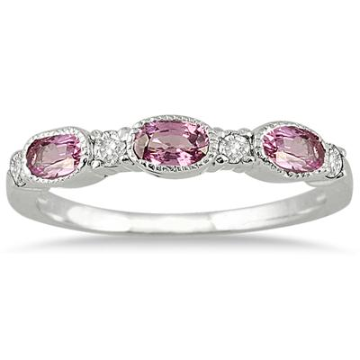 Pink Sapphire and Diamond Ring 14K White Gold