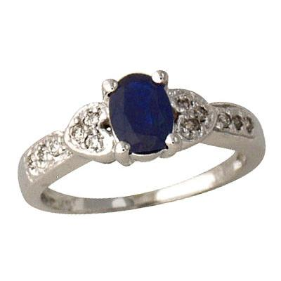Antique Sapphire and Diamond Ring 14K White Gold