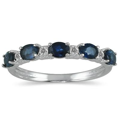 Five Stone Sapphire and Diamond Ring 14k White Gold