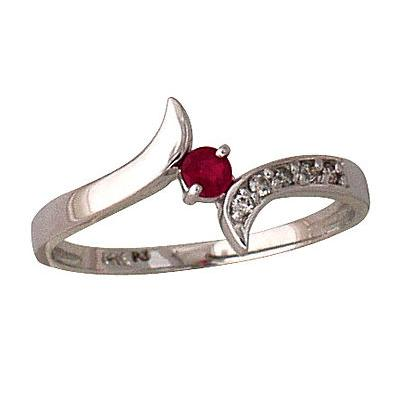 Ruby and Diamond Wave Ring 14k White Gold