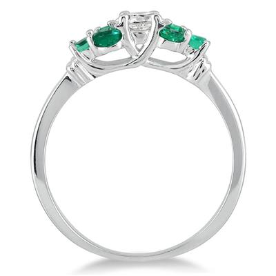 14kt White Gold Diamond and Emerald Women