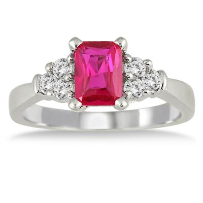 1.25 Carat Created Ruby and White Topaz Ring in .925 Sterling Silver