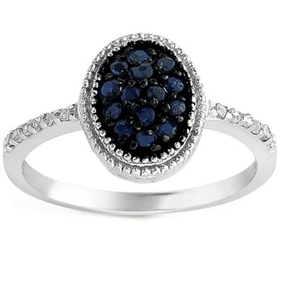1/3 Carat Sapphire and Diamond Ring in .925 Sterling Silver