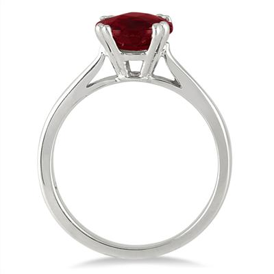 2.75 Carat Ruby Solitaire Ring in .925 Sterling Silver