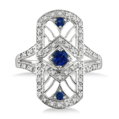 Created Sapphire and Genuine Diamond Long Knuckle Ring in .925 Sterling Silver