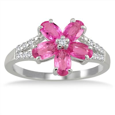 2 Carat Pink Sapphire and Diamond Flower Ring in .925 Sterling Silver