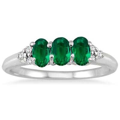 1.25 Carat Emerald and Diamond Ring in .925 Sterling Silver
