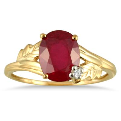 2.50 Carat Oval Ruby and Diamond leaf Ring in 10K Yellow Gold