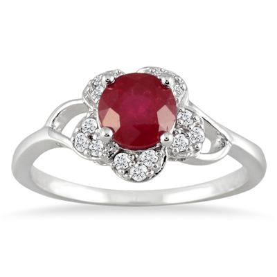 Ruby and Diamond Ring 10K White Gold