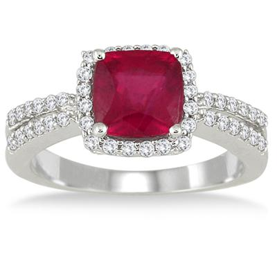 2.25 Carat Ruby and Diamond Ring in 10K White Gold