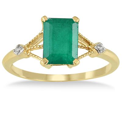 1.60 Carat Emerald and Diamond Ring in 10K Yellow Gold