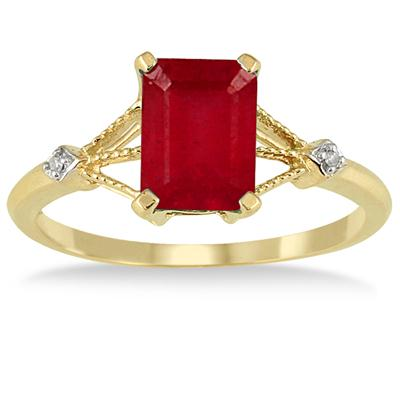 1.60 Carat Ruby and Diamond Ring in 10K Yellow Gold