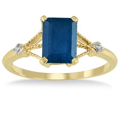 1.60 Carat Sapphire and Diamond Ring in 10K Yellow Gold