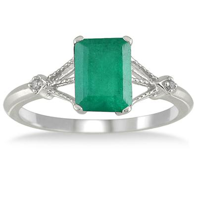 1.60 Carat Emerald and Diamond Ring in 10K White Gold