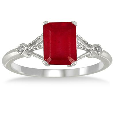 1.60 Carat Ruby and Diamond Ring in 10K White Gold