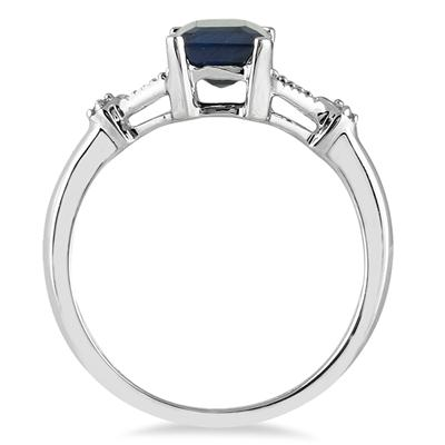 1.60 Carat Sapphire and Diamond Ring in 10K White Gold