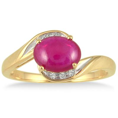 1.75 Carat Oval Cabochon Ruby and Diamond Ring in 10K Yellow Gold