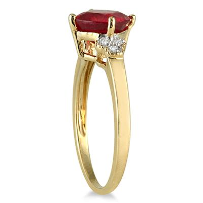 2.25 Carat Cushion Cut Ruby and Diamond Ring in 10K Yellow Gold