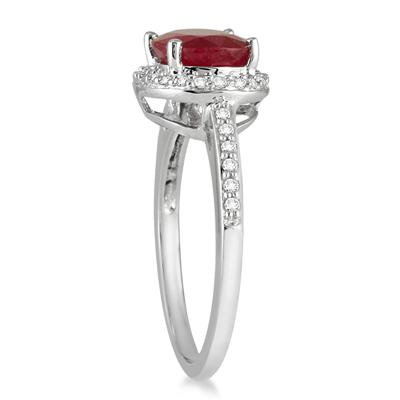 2.50 Carat Oval Ruby and Diamond Ring in 10K White Gold